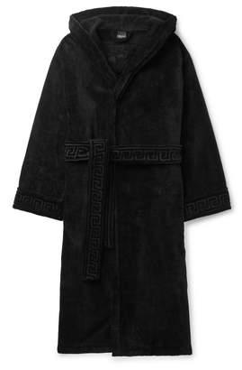 Versace (ヴェルサーチ) - Versace - Logo-Jacquard Cotton-Terry Hooded Robe