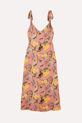 Reformation Jade Printed Crepe Midi Dress - Blush