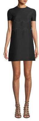 Valentino Short-Sleeve Crepe-Couture A-Line Dress w/ Rockstud Waist