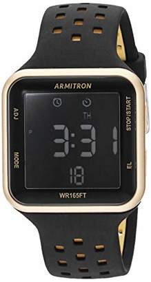 Armitron Sport Unisex Gold-Tone Accented Digital Chronograph Perforated Silicone Strap Watch