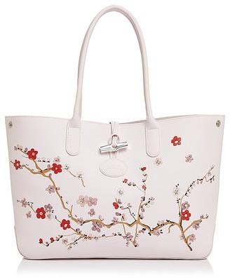 Longchamp Roseau Sakura Leather Tote $735 thestylecure.com