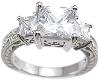 Plutus Brands CZ Sterling Silver Rhodium Finish Princess Antique-Style Wedding Ring