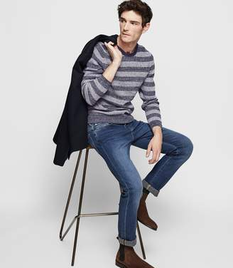 Reiss PETER STRIPED CREW NECK JUMPER Navy