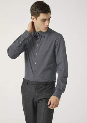 Emporio Armani Modern Fit Woven Jersey Shirt With Small Collar