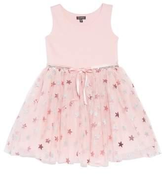 Zunie Glitter Star Ponte & Tulle Dress