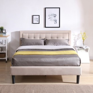 Modern Sleep Mornington Upholstered Platform Bed | Headboard and Metal Frame with Wood Slat Support | Grey, Multiple Sizes
