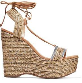 Schutz Aveline Crystal-Embellished Woven Jute Wedge Sandals