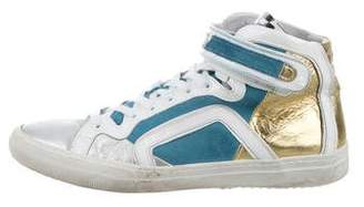 Pierre Hardy 3-D Print Leather & Suede Sneakers
