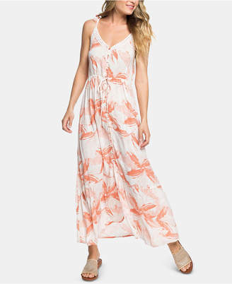 Roxy Juniors' Floral-Print Lace-Trim Maxi Dress