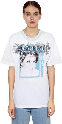 Off-White Off White Oversize Lady Diana Print Jersey T-Shirt