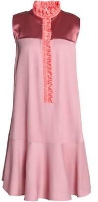 Roksanda Ruffled Twill-Trimmed Satin And Jacquard Mini Dress