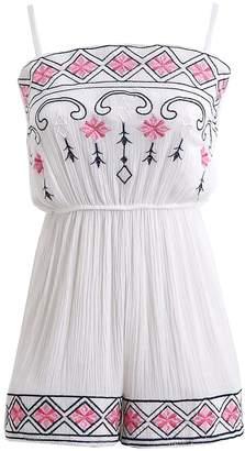 08e9b39232 Futurino Women s Ethnic Embroidery Spaghetti Strap Beach Romper Shorts  Jumpsuit