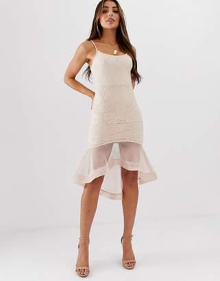 Missguided Strappy Lace Mesh Fishtail Midi Dress