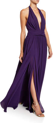 Dundas Silk Georgette V-Neck Gown with Removable Cape
