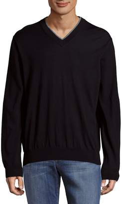 Canali Men's Casual V-Neck Wool Sweatshirt