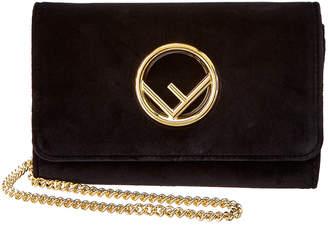 Fendi Mini F Logo Velvet Wallet On Chain