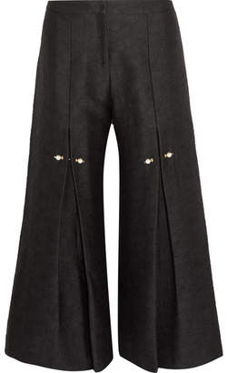 Mother of Pearl Bennie Faux Pearl-embellished Pleated Jacquard Wide-leg Pants - Black