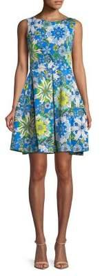 Taylor Floral Fit-&-Flare Scuba Dress