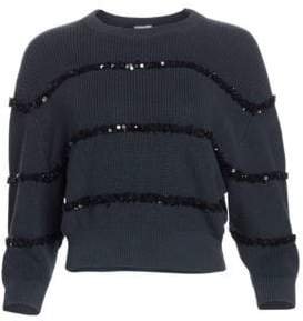 Brunello Cucinelli Sequin Stripe Cotton Sweater