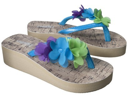 Girl's Wedge Flip Flop Sandals - Blue