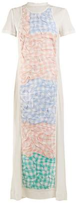 Loewe Crinkled-gingham panel dress