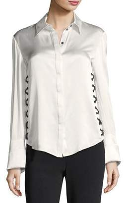 Cinq à Sept Anton Button-Front Satin Top w/ Lace-Up Sides
