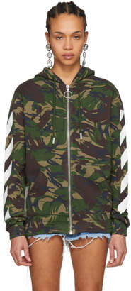Off-White Multicolor Camouflage Diagonal Zip Hoodie