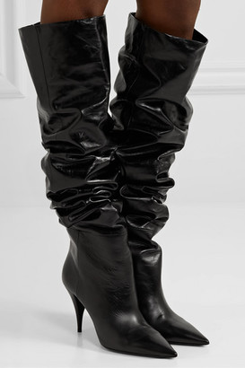 Saint Laurent Kiki Textured-leather Over-the-knee Boots - Black