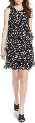 Anne Klein Dot Print Chiffon Overlay Dress