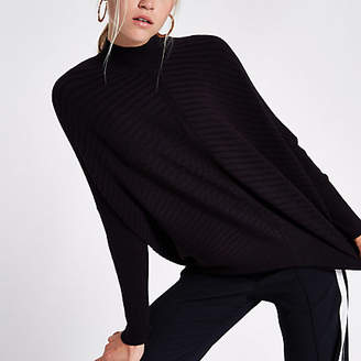 River Island Black rib knit high neck long sleeve sweater
