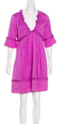 Calypso Silk Three-Quarter Sleeve Dress