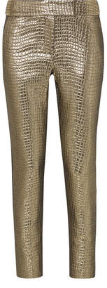 Rachel Zoe Skyla Grosgrain-trimmed Metallic Croc-effect Jacquard Slim-leg Pants - Gold
