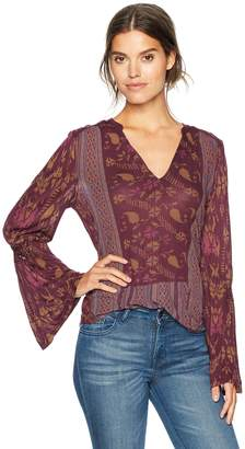Lucky Brand Women's Mix Print Peasant Top in