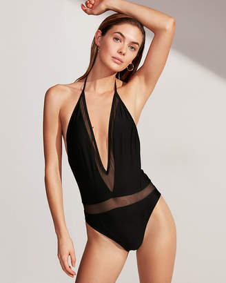 Express Mesh Deep V-Neck One-Piece Swimsuit