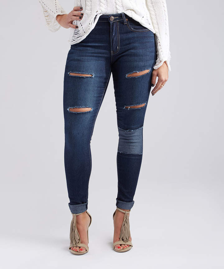 Dark Blue Distressed Patch-Accent Skinny Jeans - Women