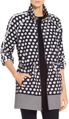 St. John Dot Print Cotton Blend Outerwear Anorak