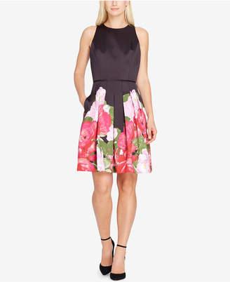 Tahari Floral Satin Fit & Flare Dress