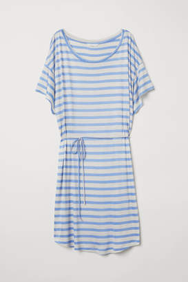 H&M T-shirt Dress with Tie Belt - Brown