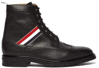 Thom Browne Longwing Grained Leather Boots - Mens - Black