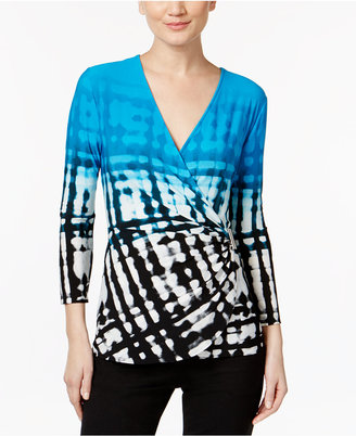 Calvin Klein Printed Faux-Wrap Top $69.50 thestylecure.com
