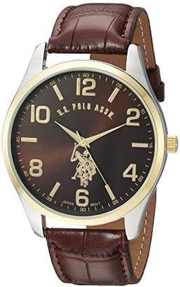 U.S. Polo Assn. Classic Men's USC50225 Watch with Brown Faux-Leather Strap