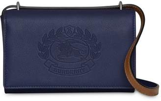 Burberry embossed crest wallet with detachable strap