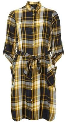 Dorothy Perkins Womens Yellow Checked Shirt Dress