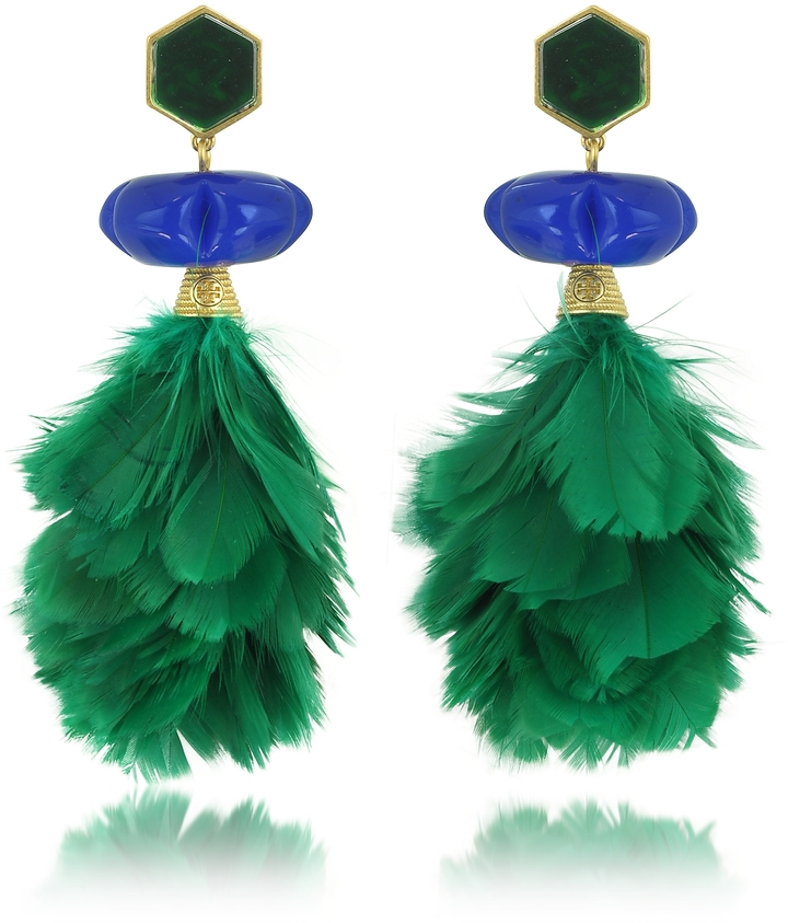 Tory BurchTory Burch Tropical Creature Emerald Green Feather Drop Clip-On Earrings