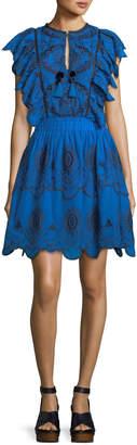 Sea Tassel-Tie Eyelet Dress