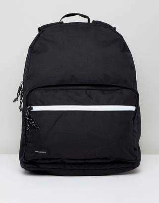 Asos DESIGN backpack in black with white contrast zips