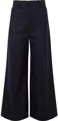 Joseph Dana Wool-blend Twill Wide-leg Pants - Navy