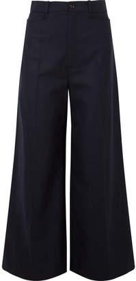 Joseph Dana Wool-blend Twill Wide-leg Pants - Navy