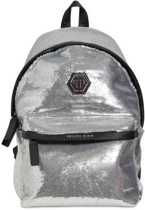 Philipp Plein Junior Sequins & Faux Leather Backpack