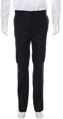 Black Fleece Striped Wool Cargo Pants